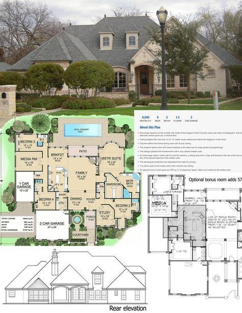 Plan 36180tx French Country Estate With Courtyard Modern House Plans French Country House Plans French Country Bedrooms