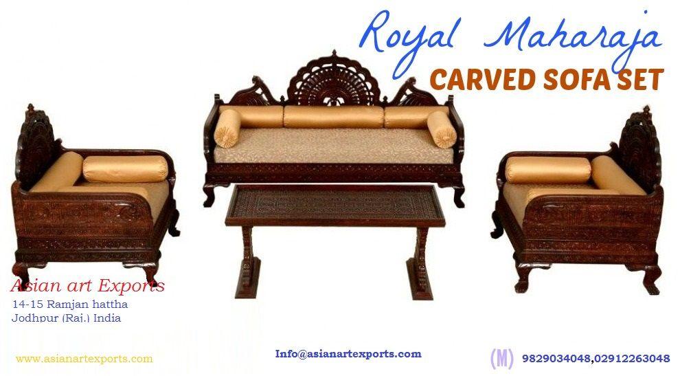 Rajasthani Carved Furniture Teak Wood Barmeri Carved Traditinal