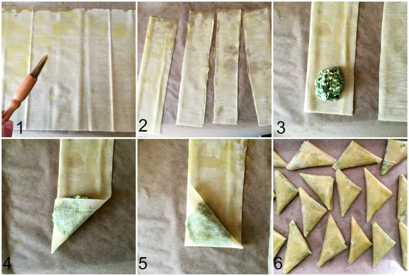 Step-by-step instructions how to fold the phyllo pastry ...