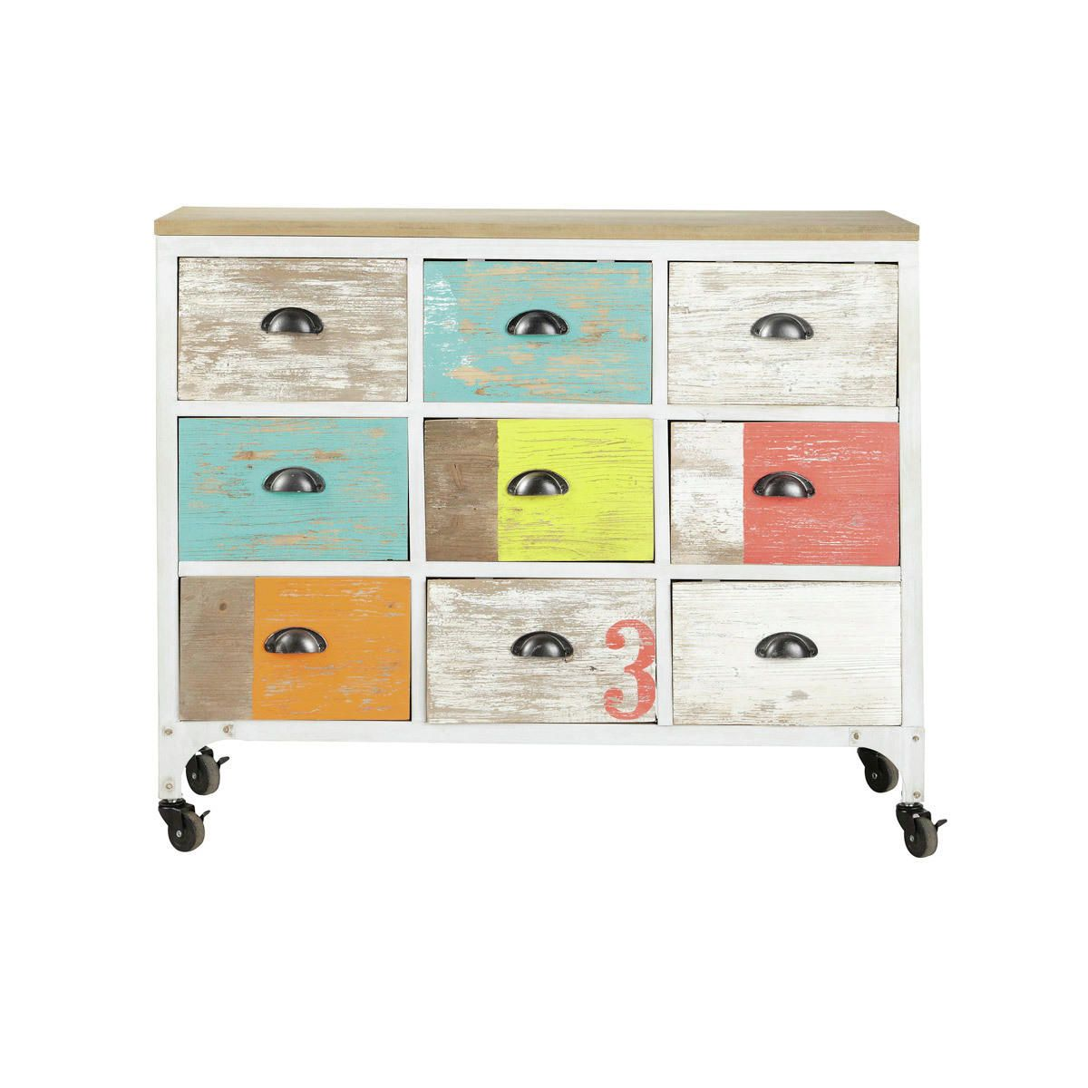Commode Cabinet Multicolore A Roulettes Ipanema Mobilier De Salon Commode Maison Du Monde