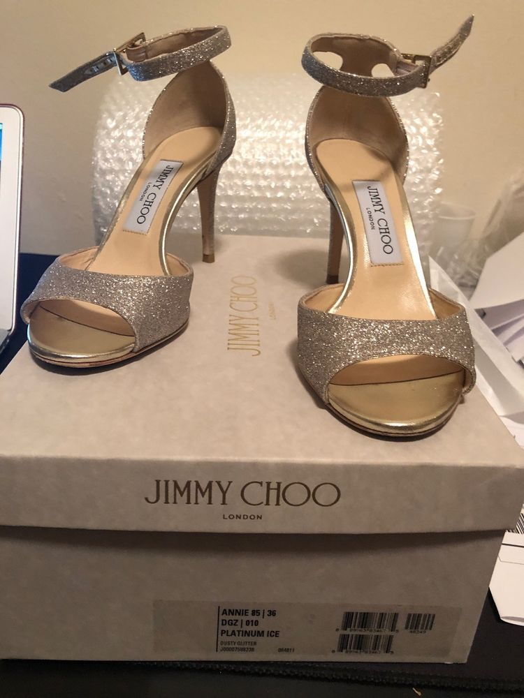 63a53a05313 Jimmy Choo Annie Ankle Strap 85 mm Platinum Ice Heels Sandals 36/US ...