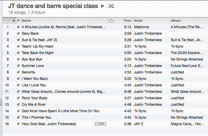 Playlist from our special Justin Timberlake inspired workout
