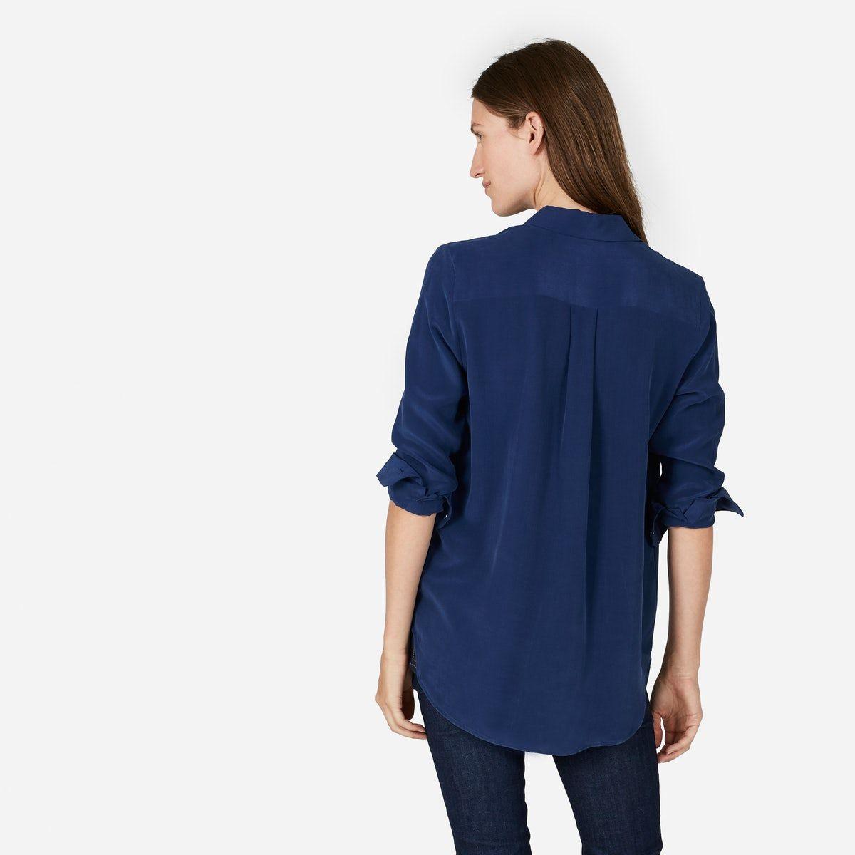 4616fdb302c77 Royal Blue Silk Shirt Womens