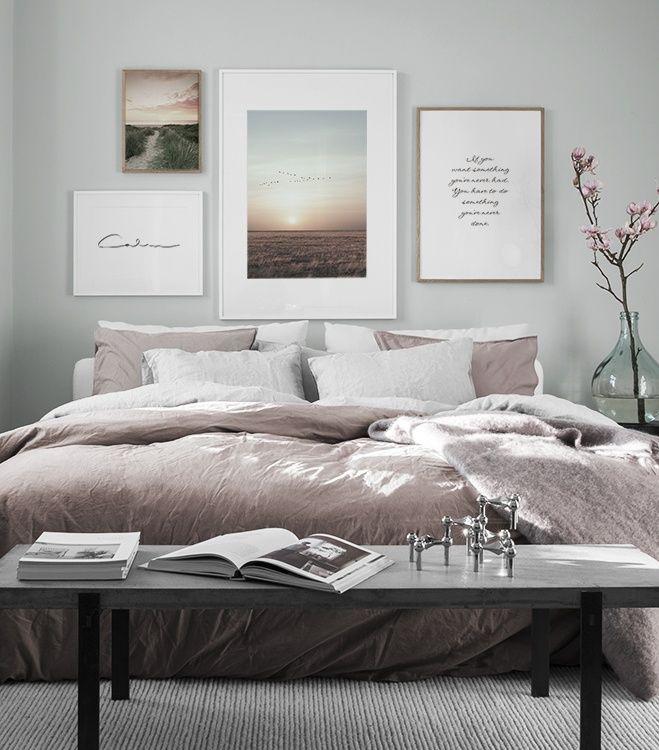 Design Inspiration und Poster Bilderwand im Schlafzimmer | Desenio #collagewalls