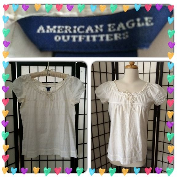 FINAL Price! American Eagle Top Off white with gold metallic stripe. Boat neck with Sabrina cap sleeve. Cotton. EUC American Eagle Outfitters Tops