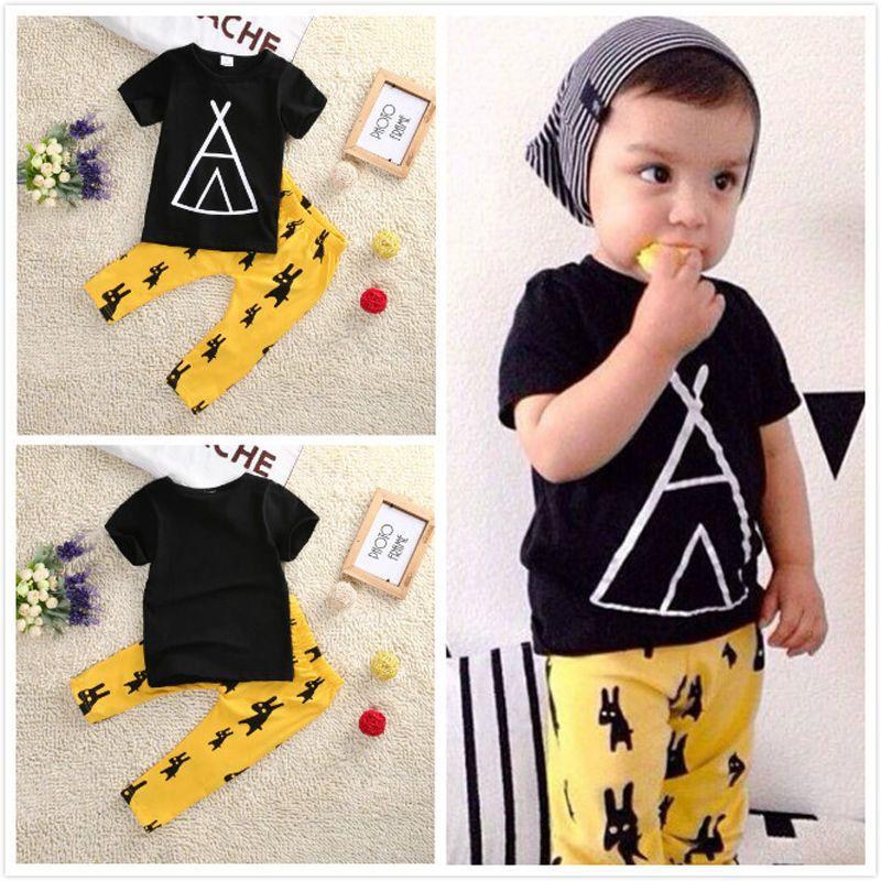bef5f4503fd6 2pcs Outfits Clothes Sets Newborn Children Toddler Infant Kids Baby Boy  Clothes Summer T-shirt