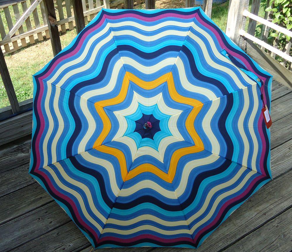 """NEW $200 Missoni Umbrella Orange Label Onda Ombrello Bright Multi Blue 35"""" Stick #Missoni #Fashion"""
