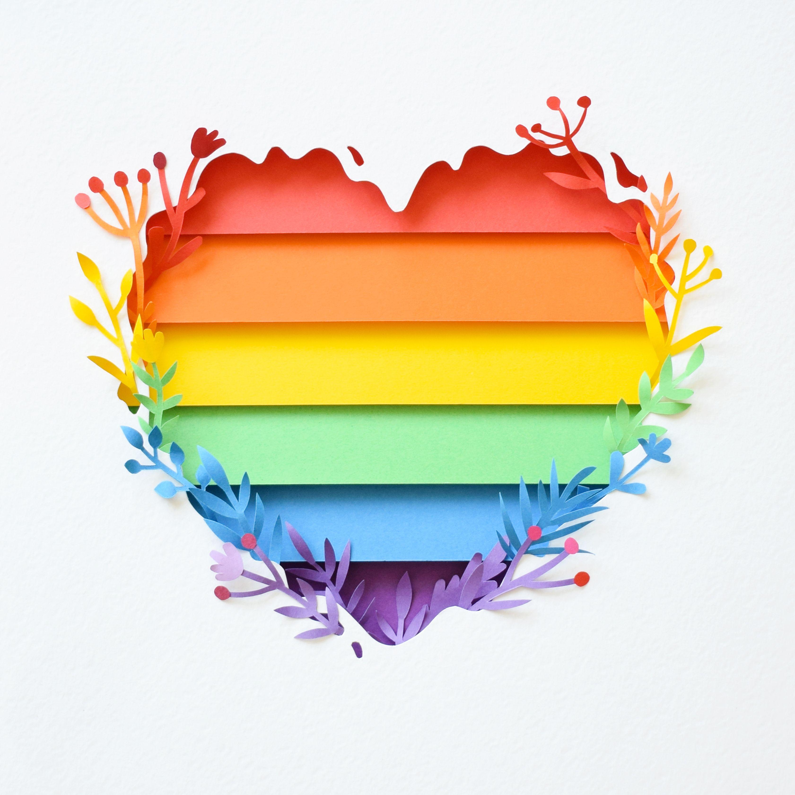 Pride month. LGBTQ flag paper art. Artist Margaret Scrinkl (With ...