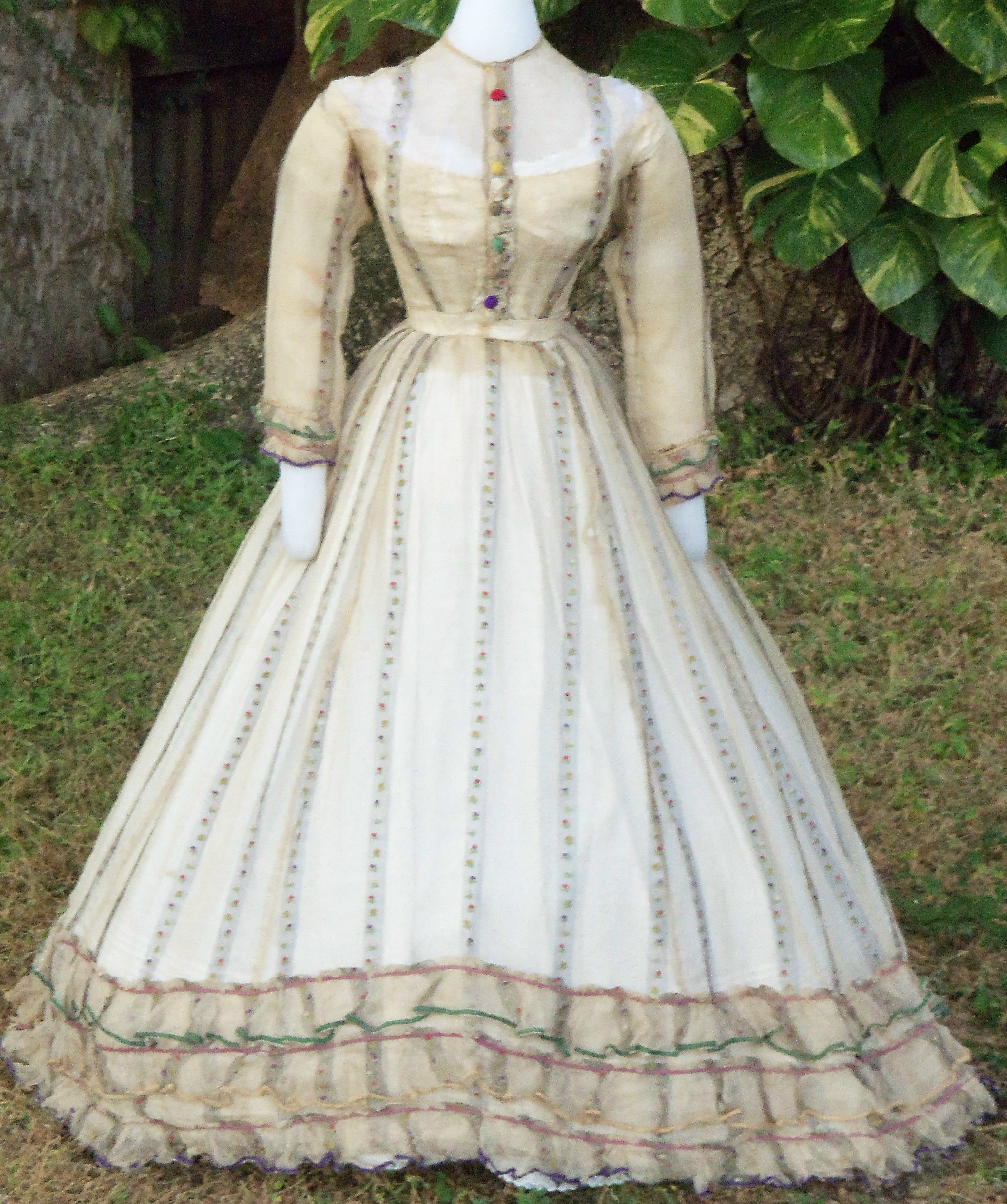 Multicolored Brocaded Gauze Summer Dress With Low Lining Circa 1865 1867 Victorian Fashion Civil War Fashion Fashion [ 3673 x 3073 Pixel ]