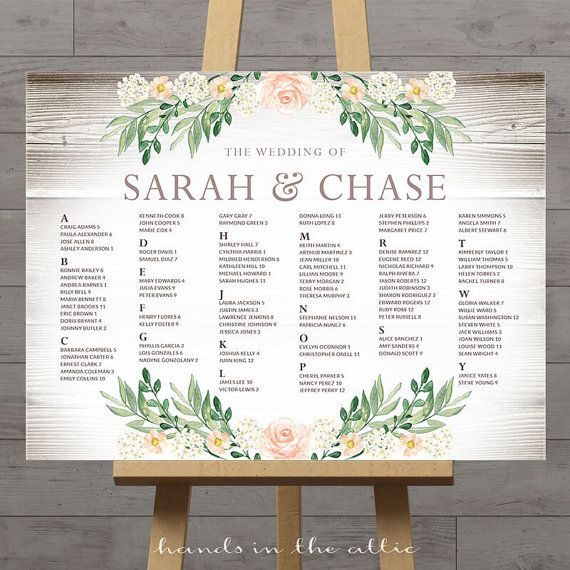 Wedding Seating Chart Large Printable Guest Table Numbers Reception Floral DIGITAL Customized
