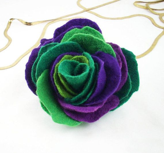 Felted Brooch nuno felt flower nunofelt silk purple by filcant, $59.00