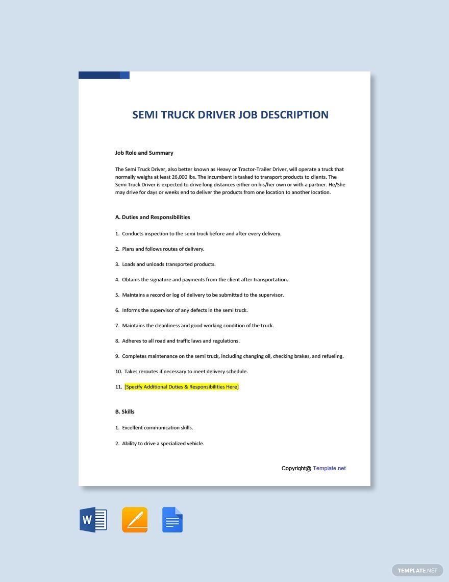 Free Semi Truck Driver Job Description Template in 2020