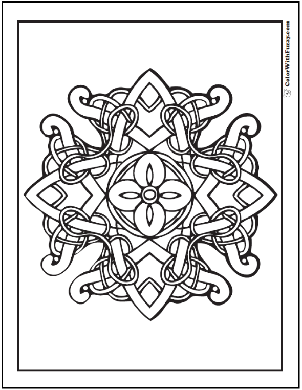 Fuzzys Celtic Coloring Pages Are Fun To Color This One Has A Flower In The Center Of Cross Shape With Vines