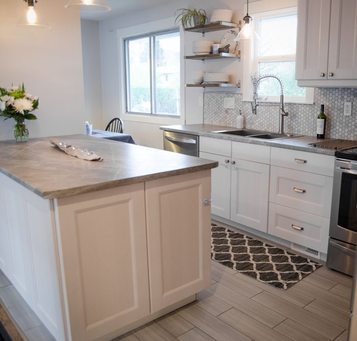 Soapstone Sequoia As Kitchen Countertops That Are Affordable Penny Tile Marble Backsplash And White Cabinets