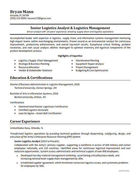 Logistics Analyst Logistics Management Chronological Resume Resume Examples