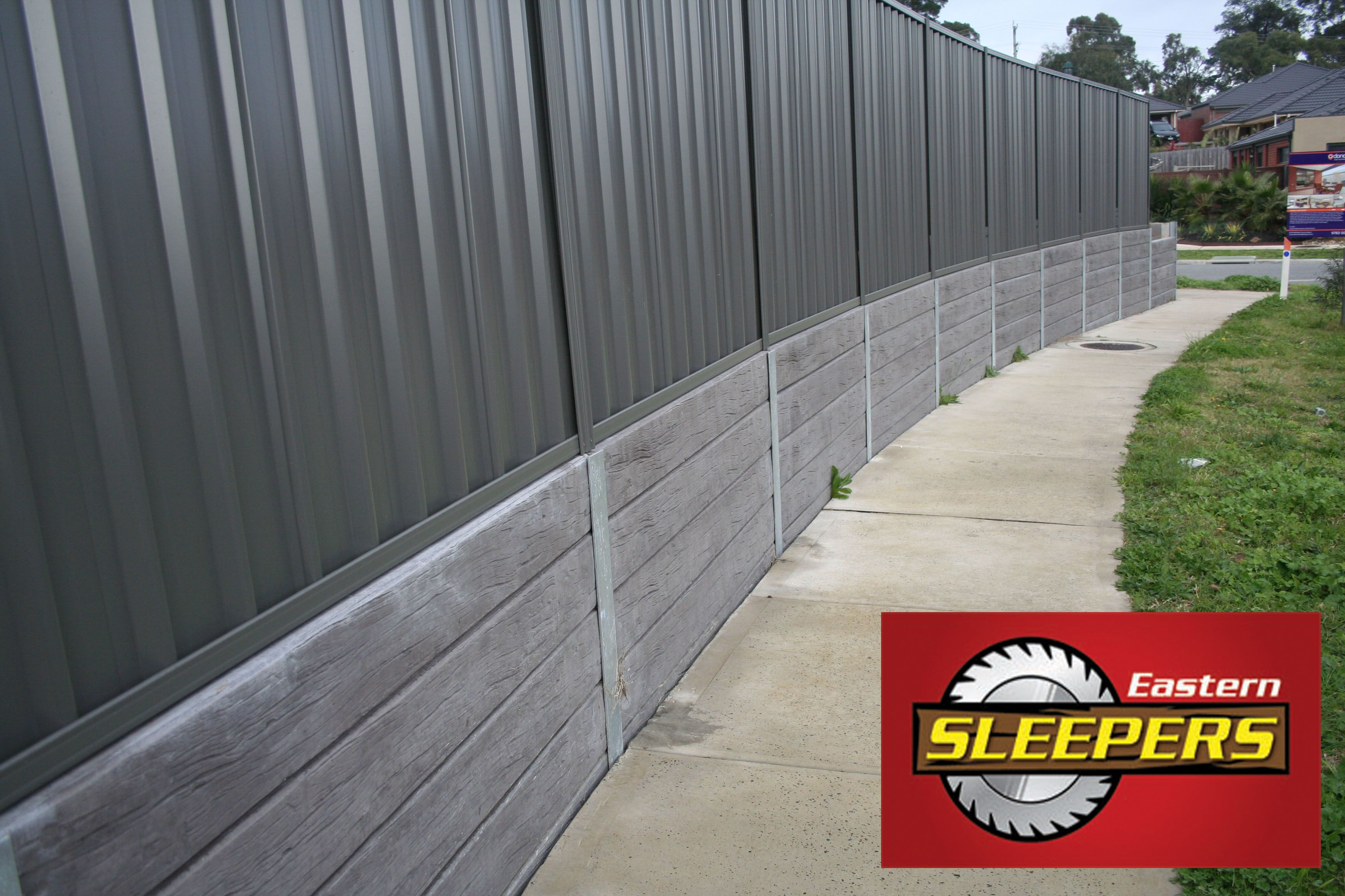 Concrete Railway Sleeper Retaining Wall Concrete Sleeper Landscaping Retaining Walls Backyard Landscaping Backyard