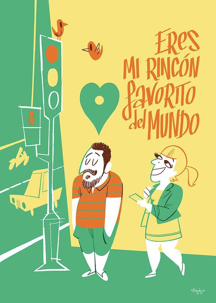 Eres mi rincón favorito del mundo... #monigotez #ilustracion #illustration #love #amor #couple #pareja #picture #poster #motivador #diseño #design #retro #cartoon