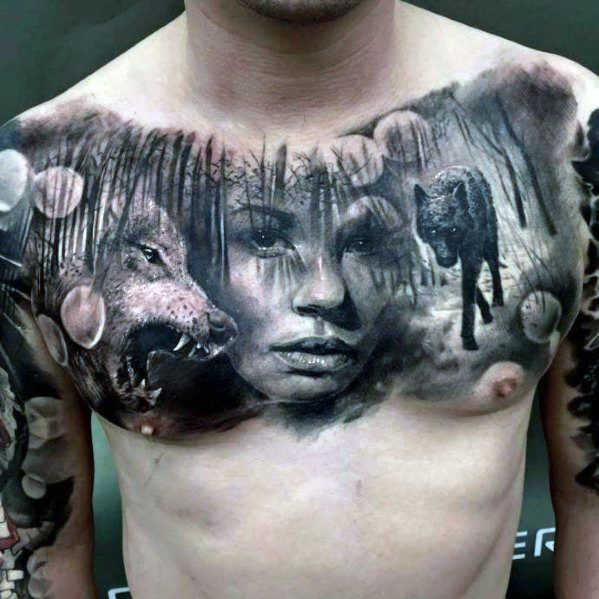 50 Realistic Wolf Tattoo Designs For Men Canine Ink Ideas Chest Tattoo Men Cool Chest Tattoos Full Chest Tattoos