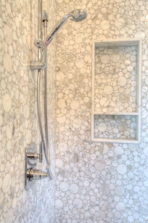 Contemporary Master Bathroom With Carrara White Italian Carrera