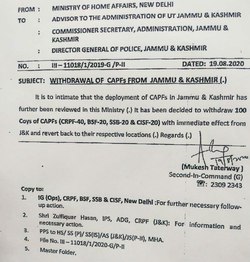 Central Goverment Orders Immediate Withdrawal Of 10000 Troops From Jammu Kashmir At The In 2020 Jammu And Kashmir Border Security Force Central Armed Police Forces