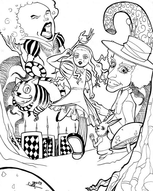 find this pin and more on coloring pages free alice in wonderland decoupage prints - Coloring Pages Alice Wonderland