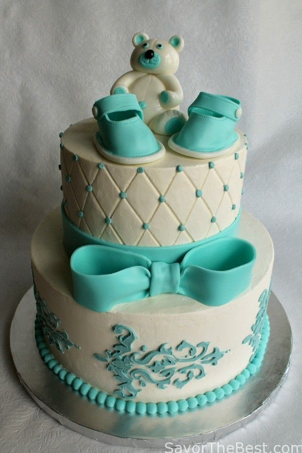 Baby Shower Cake Design with Fondant Baby Shoes and Teddy Bear