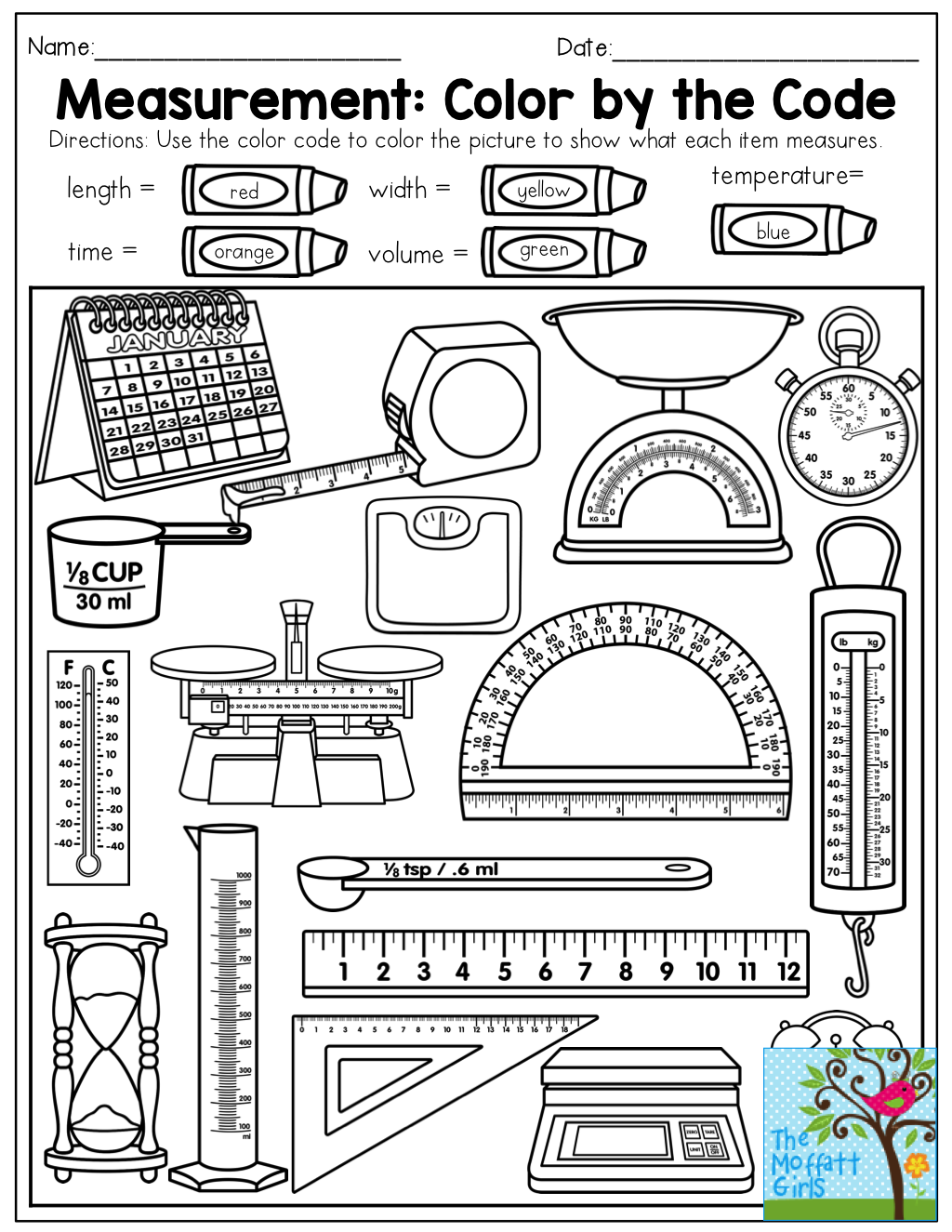 Workbooks volume worksheets grade 7 : Measurement: Color by the Code (length, time, width, volume ...