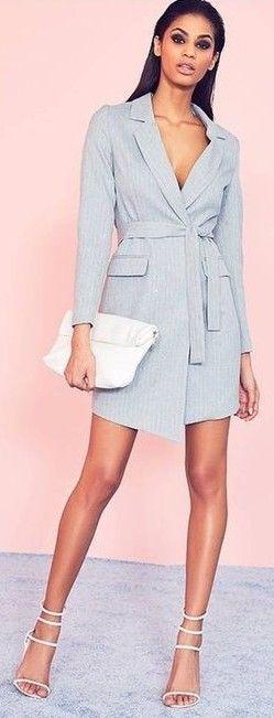 #spring #fashion | Grey Pinstripe Wrap Blazer Dress |#Missguided