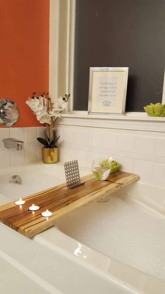 Maple Bath Tray and Caddy- Candle and Wine Holder with Copper ...