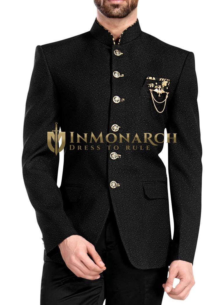 Mens Black 4 Pc Jodhpuri Suit 6 Button   Jodhpuri suit