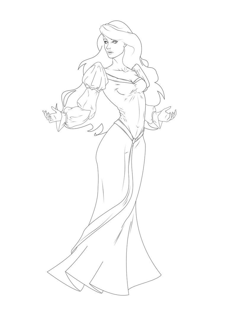 Swan princess coloring pages free - Odette The Swan Princess Lineart Refined By Leo888