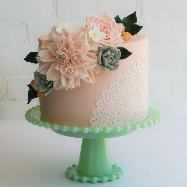 peach fondant cake with sugar flowers and succulents Cakes