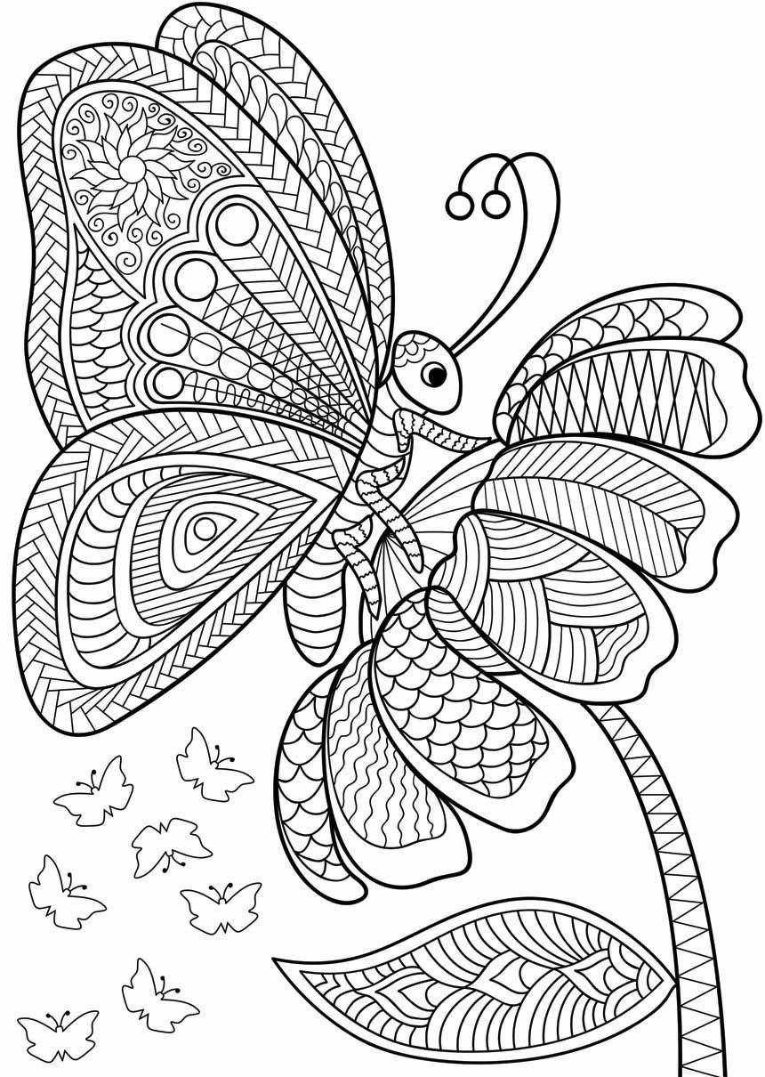 Erwachsenenfarbe Kritzeleien Mandala Malvorlagen Schmetterling Ausmalen Kritzeleien