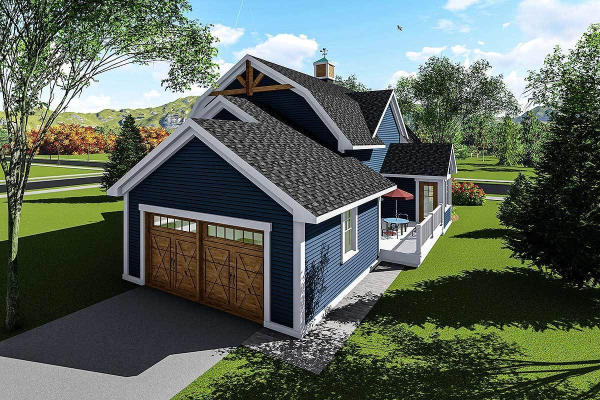 Plan 890051ah 3 Bed House Plan With Gambrel Roof Ranch House Exterior House Exterior Blue Gambrel Roof