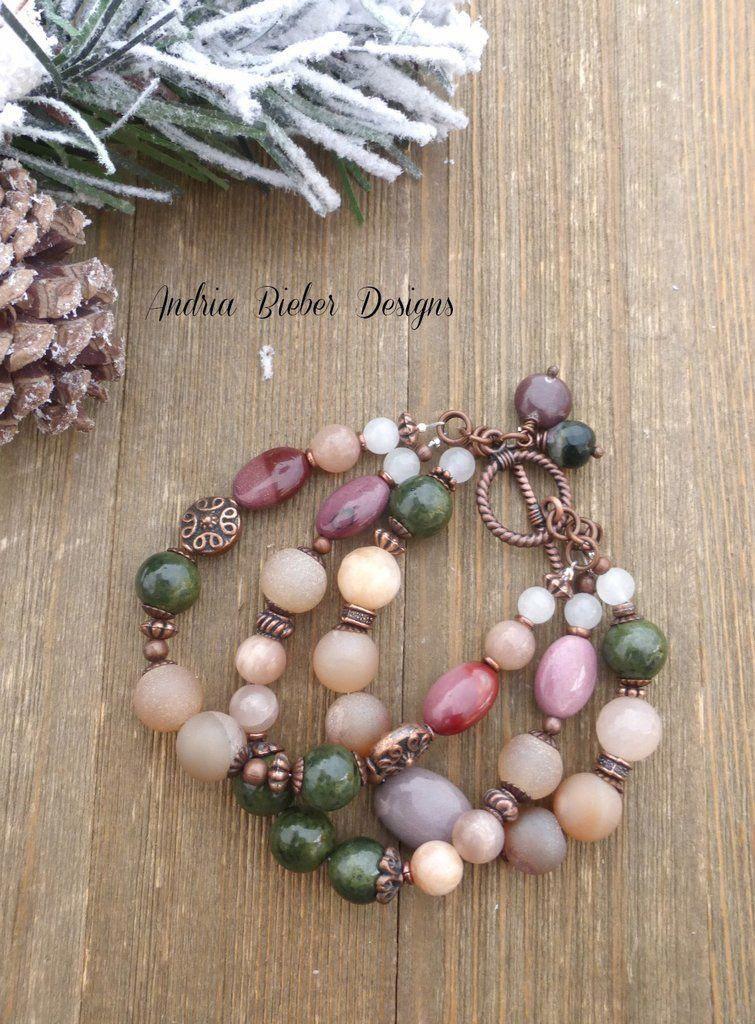 49972e7610726 Japser, green stone, peach moonstone, copper metal charm bracelet ...