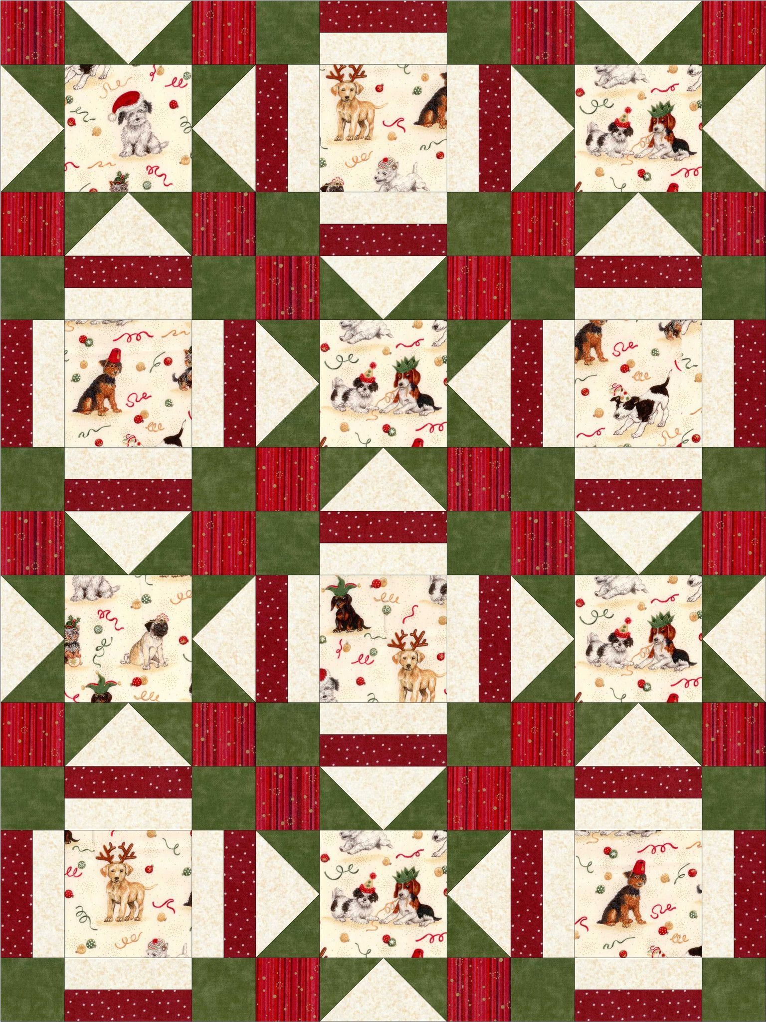Such An Adorable Sweet Quilt Kit With All These Different Puppy Dogs