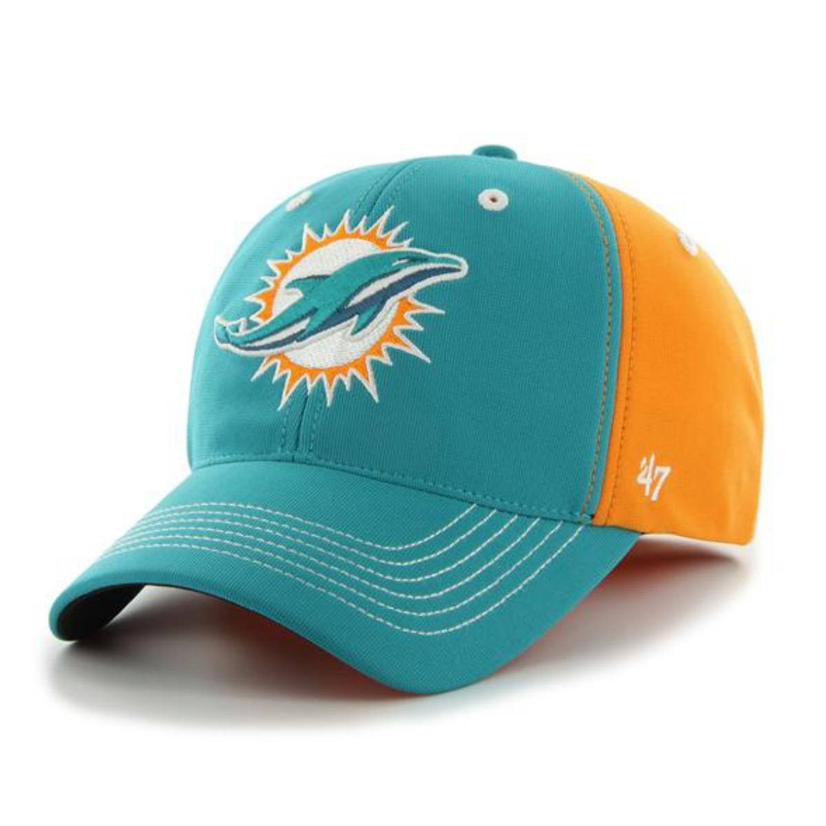 f5d731ca Miami Dolphins 47 Brand Pylon Orange Teal Carson Closer Flexfit Hat ...