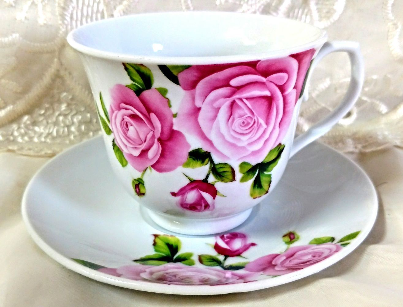 24 Pink Roses Wholesale Teacups (Tea Cups) and Saucers