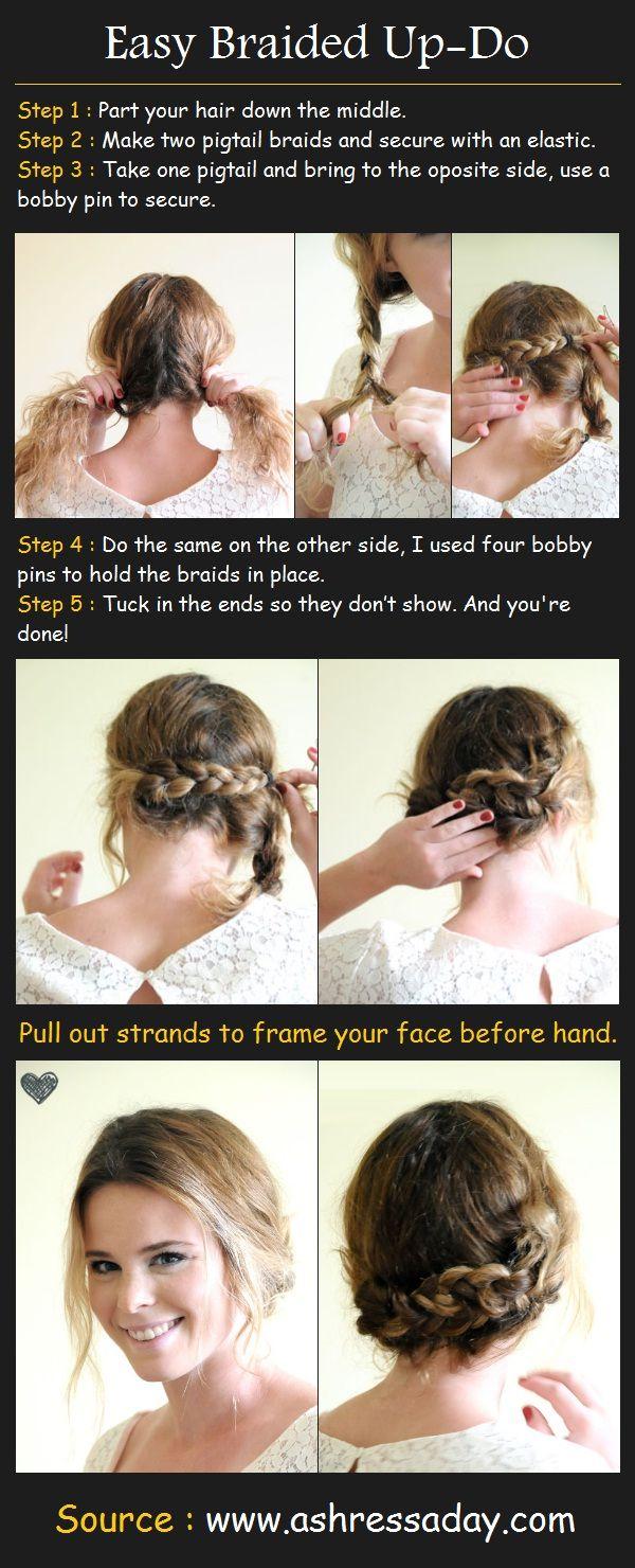 Easy braided updo tutorial beauty tutorials hairstyles pinterest