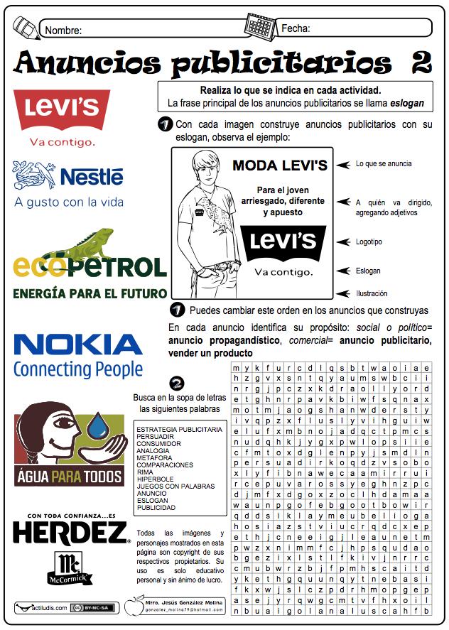 Dos Fichas Para Trabajar Los Anuncios Publicitarios Con Una Gran Variedad De Propuestas Que Permitan Al Est Tipos De Texto Texto Argumentativo Aula De Espanol