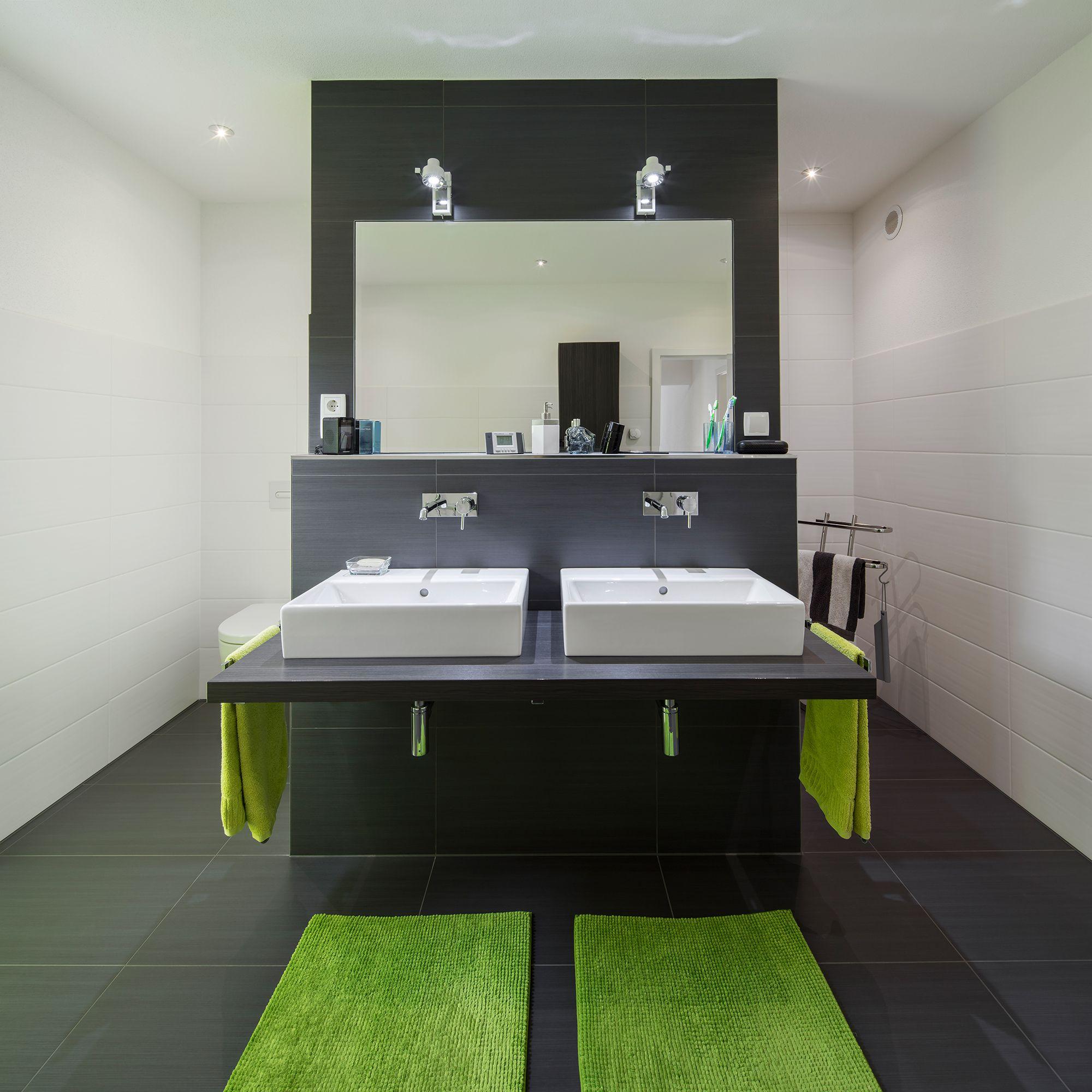 Fertighaus Wohnidee Badezimmer In Schwarz Und Grün