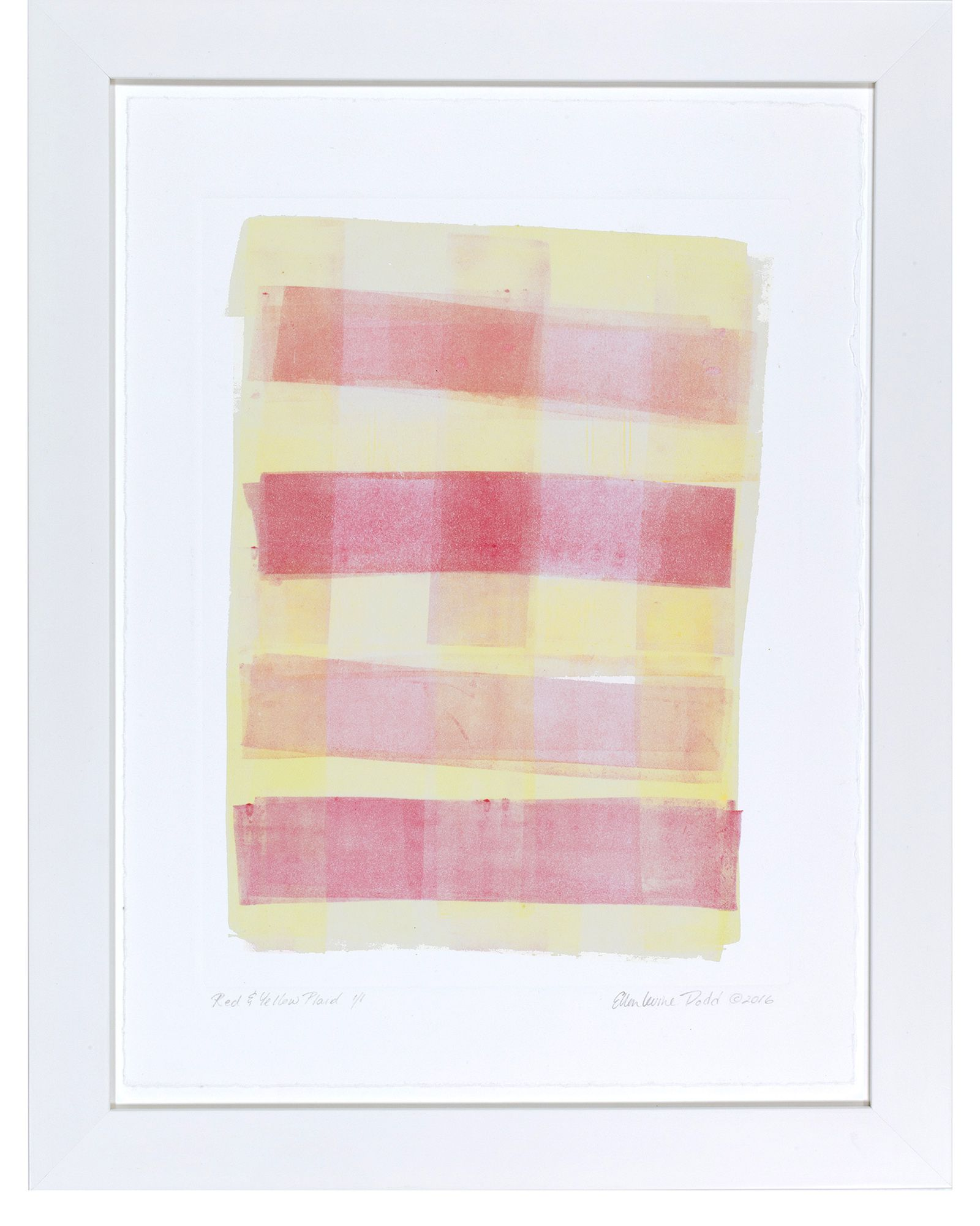 """Red & Yellow Plaid"" by Ellen Levine Dodd - Monoprint on heavy archival cotton rag paper framed in contemporary white frame. - 13"" x 17"" - available for sale"