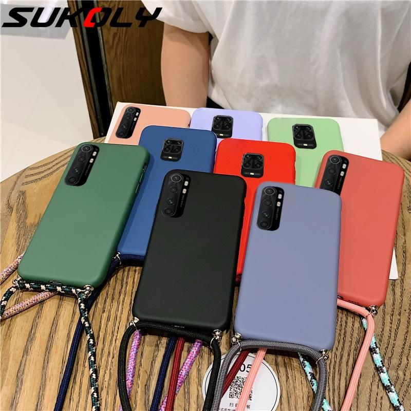 Liquid Silicone Landyard Case For Xiaomi Redmi Note 9 9s 8t 8 Pro 8a 7a Mi 10 9t Pro 9 Lite A3 A2 Soft Case Cover With Strap Samsung Device Phone Cases Case