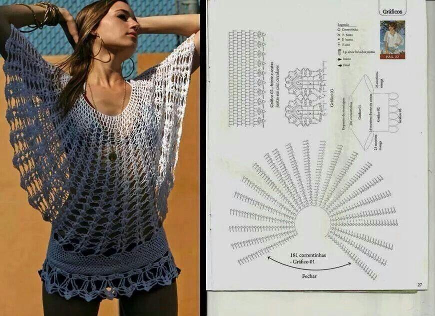 Openwork Top free crochet graph pattern | kleidung | Pinterest ...