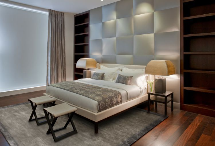 Polsterwand Im Schlafzimmer Wandpaneel Bett Rückenpolster Wand Rückenlehne  Polster Design Braun Modern Quadrate #bedroom