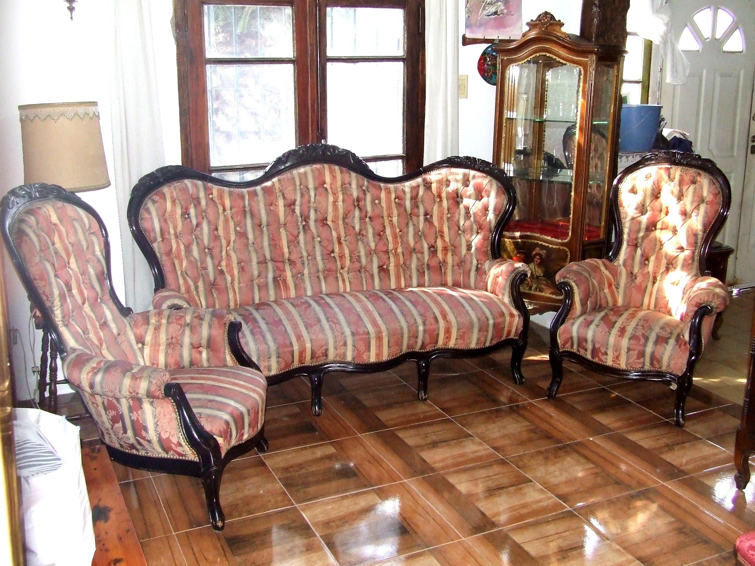 juego de sillones victorianos antiguos antiguedades On sillones antiguos