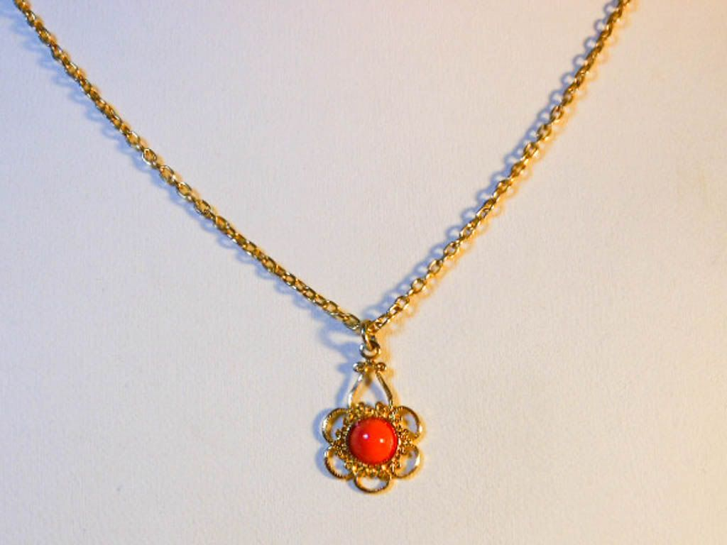 Faux coral bead pendant choker inch necklace gold plated by