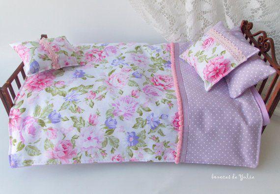Doll 6 pcs pink purple bedding set floral Barbie Monster high Blythe Bratz 1/6 bjd 12 inches doll bed clothes Blanket mattress pillow doll #bearbedpillowdolls