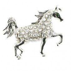 Sparkly diamante horse brooch