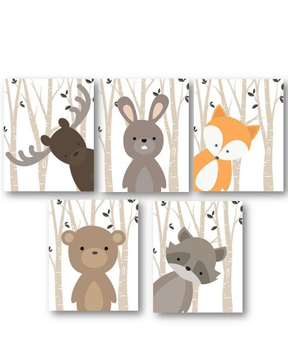 Woodland Nursery Decor - Woodland Nursery Art - Baby Boy Decor - Forest Animals Nursery - Animal Nursery - Animal Wall Art - PRINTS ONLY -   24 nursery decor animals ideas